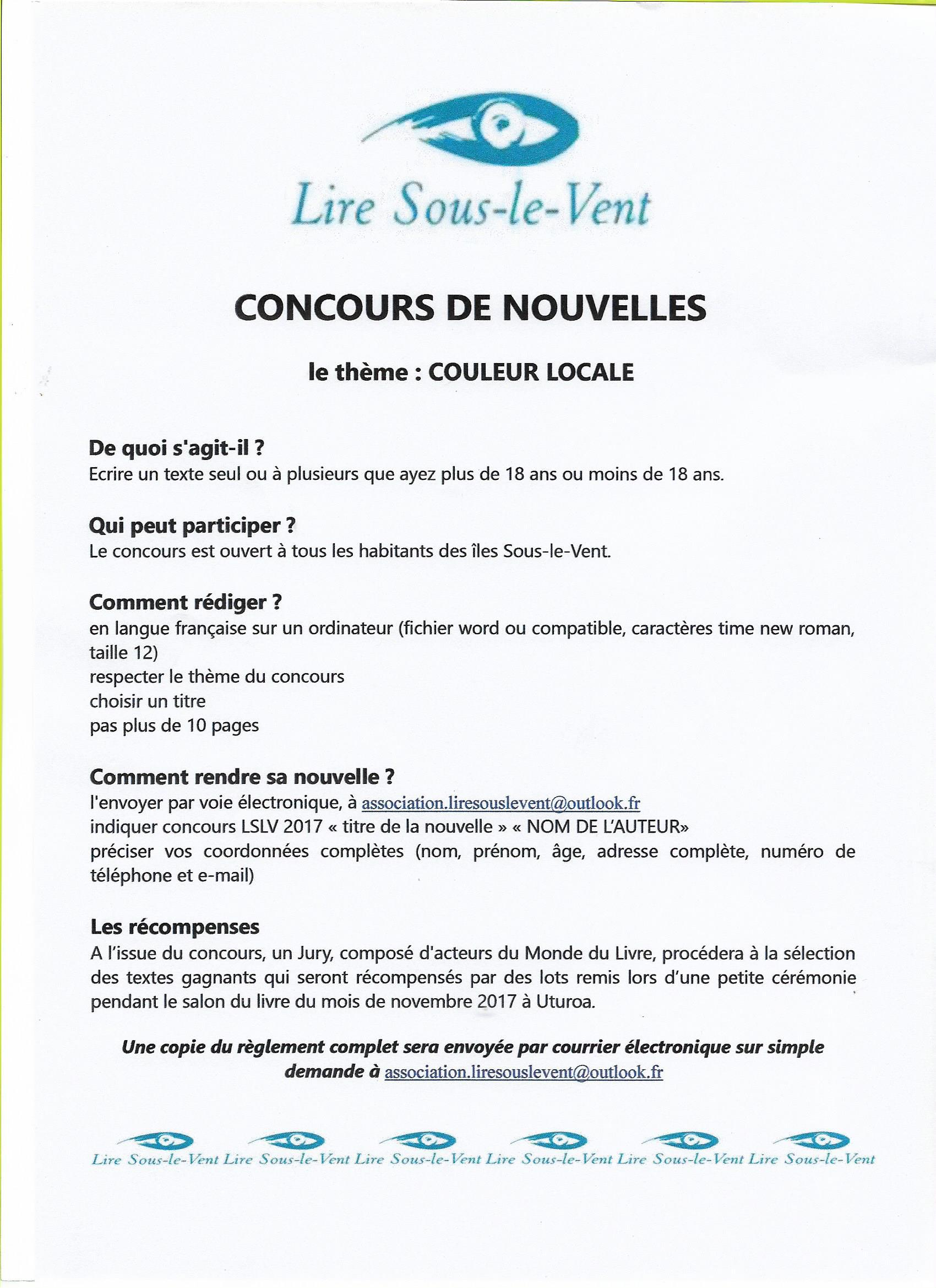 affiche concours de nouvelles